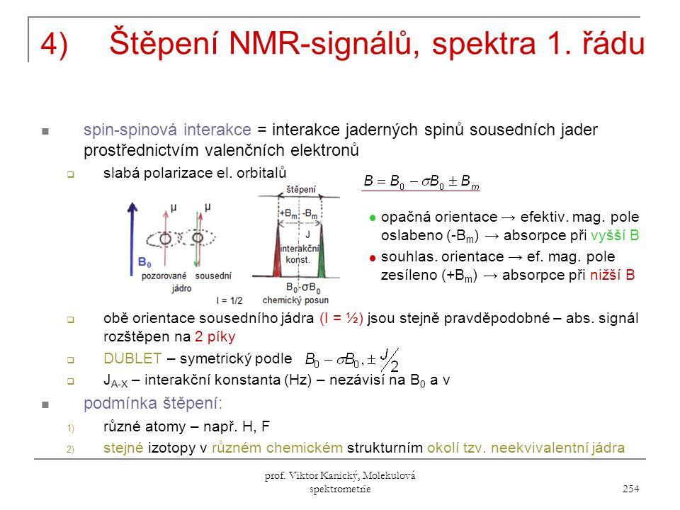 prof.Viktor Kanický, Molekulová spektrometrie 254 4) Štěpení NMR-signálů, spektra 1.