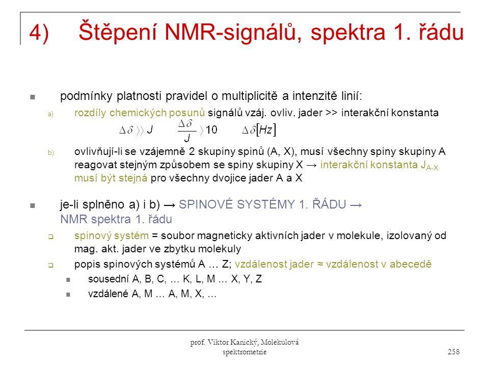 prof.Viktor Kanický, Molekulová spektrometrie 258 4) Štěpení NMR-signálů, spektra 1.