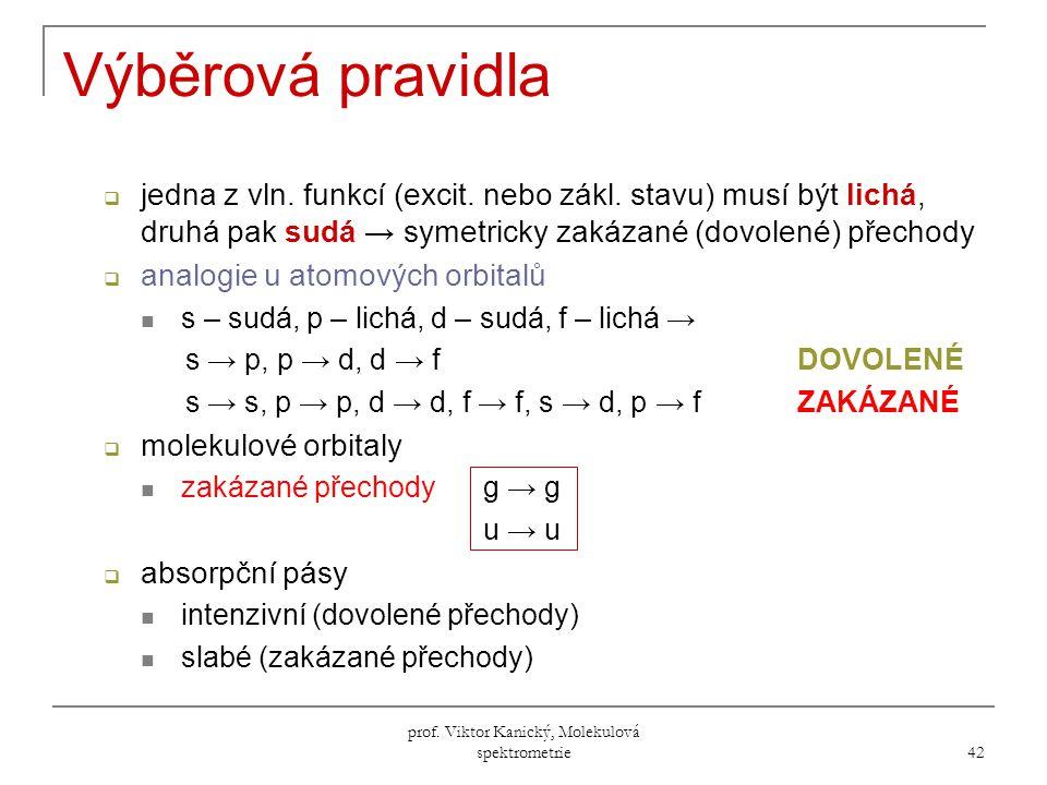 prof.Viktor Kanický, Molekulová spektrometrie 42 Výběrová pravidla  jedna z vln.