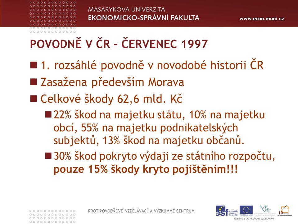 www.econ.muni.cz POVODNĚ V ČR – ČERVENEC 1997 1. rozsáhlé povodně v novodobé historii ČR Zasažena především Morava Celkové škody 62,6 mld. Kč 22% škod