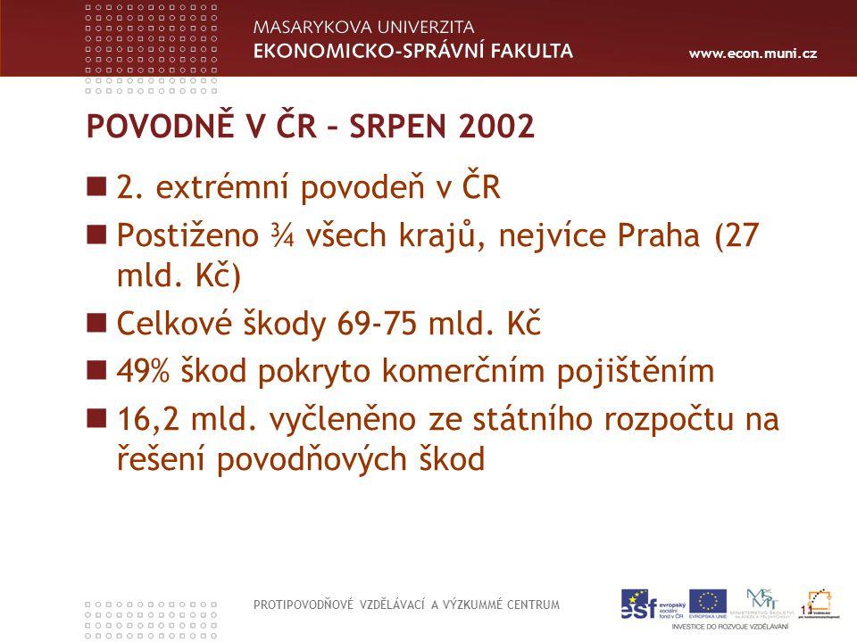 www.econ.muni.cz POVODNĚ V ČR – SRPEN 2002 2. extrémní povodeň v ČR Postiženo ¾ všech krajů, nejvíce Praha (27 mld. Kč) Celkové škody 69-75 mld. Kč 49