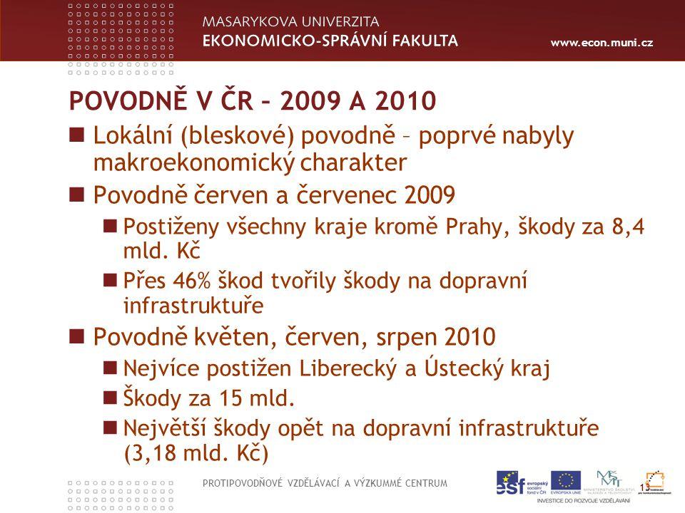www.econ.muni.cz POVODNĚ V ČR – 2009 A 2010 Lokální (bleskové) povodně – poprvé nabyly makroekonomický charakter Povodně červen a červenec 2009 Postiž