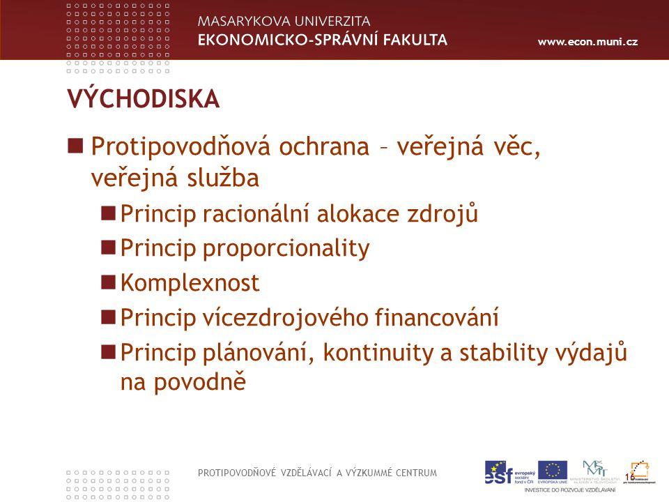 www.econ.muni.cz VÝCHODISKA Protipovodňová ochrana – veřejná věc, veřejná služba Princip racionální alokace zdrojů Princip proporcionality Komplexnost