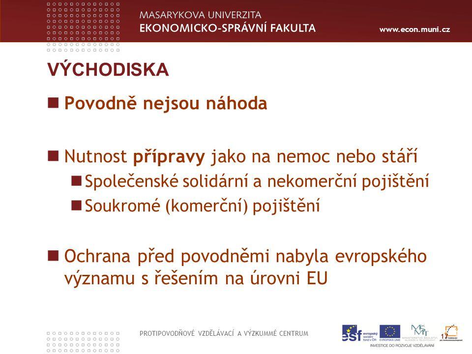 www.econ.muni.cz VÝCHODISKA Povodně nejsou náhoda Nutnost přípravy jako na nemoc nebo stáří Společenské solidární a nekomerční pojištění Soukromé (kom