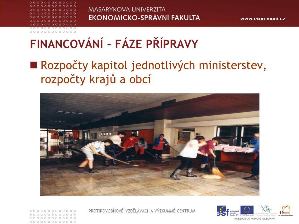 www.econ.muni.cz FINANCOVÁNÍ – FÁZE PŘÍPRAVY Rozpočty kapitol jednotlivých ministerstev, rozpočty krajů a obcí PROTIPOVODŇOVÉ VZDĚLÁVACÍ A VÝZKUMMÉ CE