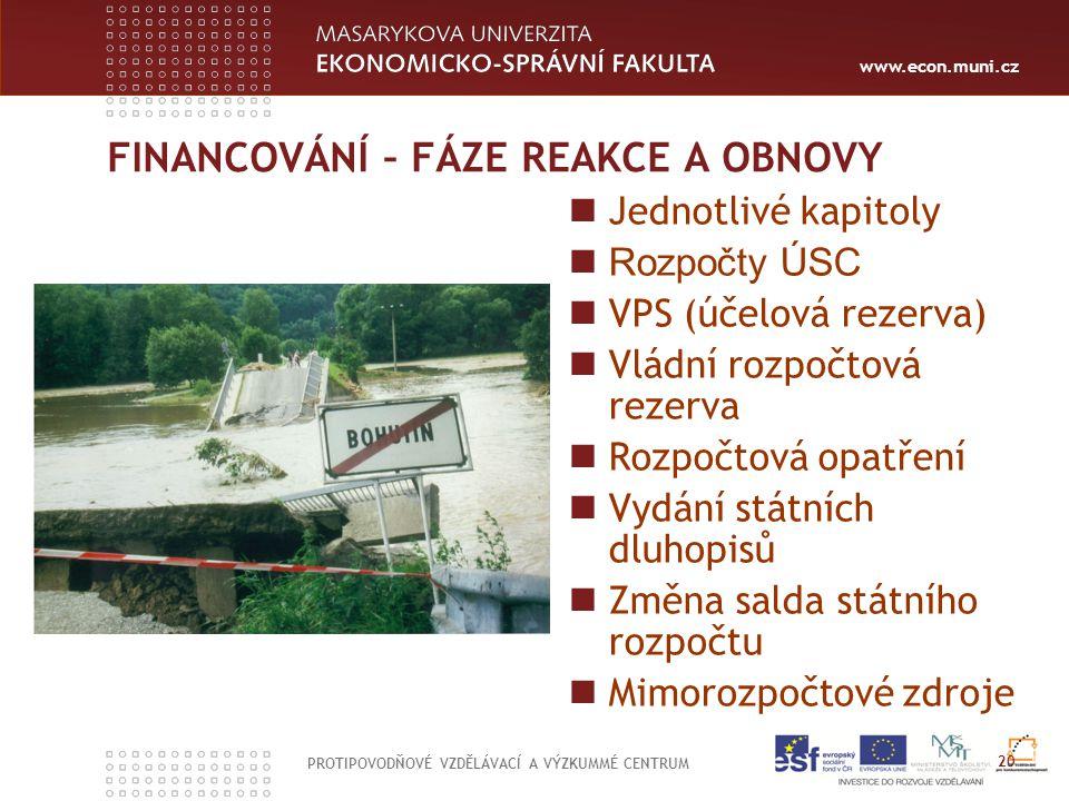 www.econ.muni.cz FINANCOVÁNÍ – FÁZE REAKCE A OBNOVY Jednotlivé kapitoly Rozpočty ÚSC VPS (účelová rezerva) Vládní rozpočtová rezerva Rozpočtová opatře