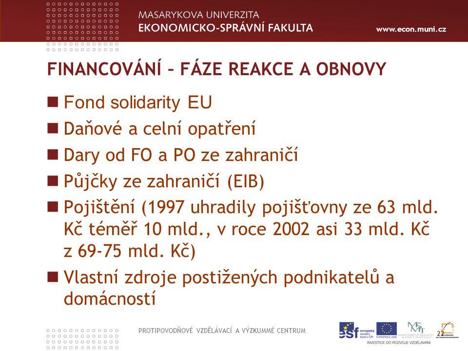 www.econ.muni.cz FINANCOVÁNÍ – FÁZE REAKCE A OBNOVY Fond solidarity EU Daňové a celní opatření Dary od FO a PO ze zahraničí Půjčky ze zahraničí (EIB)