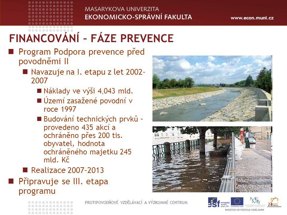 www.econ.muni.cz FINANCOVÁNÍ – FÁZE PREVENCE Program Podpora prevence před povodněmi II Navazuje na I. etapu z let 2002- 2007 Náklady ve výši 4, 043 m
