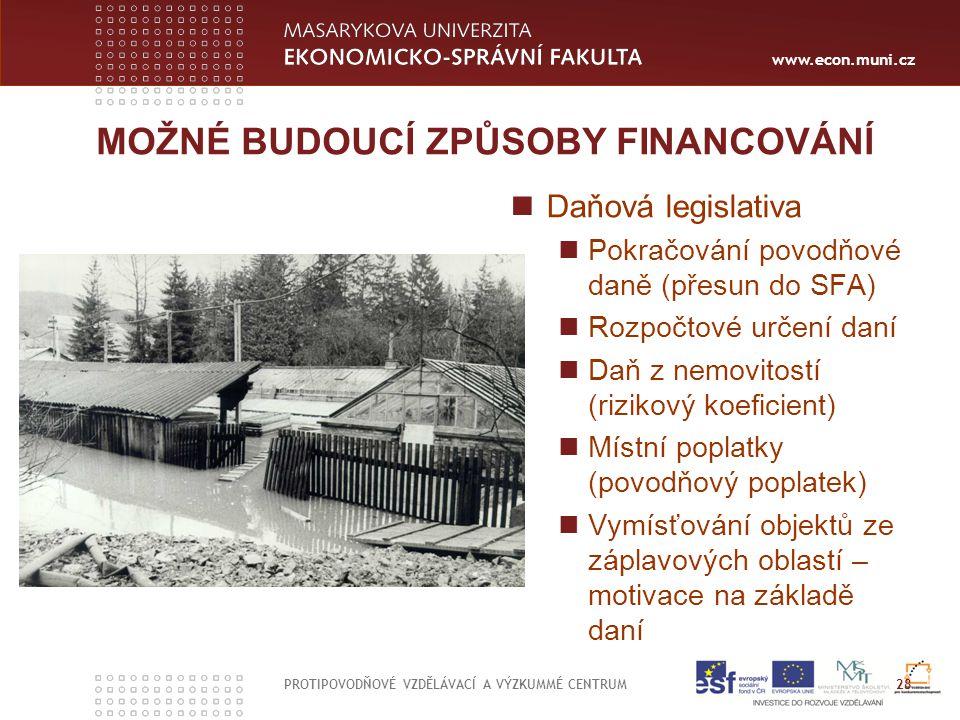 www.econ.muni.cz MOŽNÉ BUDOUCÍ ZPŮSOBY FINANCOVÁNÍ Daňová legislativa Pokračování povodňové daně (přesun do SFA) Rozpočtové určení daní Daň z nemovito
