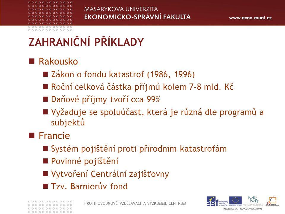 www.econ.muni.cz ZAHRANIČNÍ PŘÍKLADY Rakousko Zákon o fondu katastrof (1986, 1996) Roční celková částka příjmů kolem 7-8 mld. Kč Daňové příjmy tvoří c