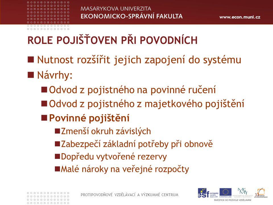 www.econ.muni.cz ROLE POJIŠŤOVEN PŘI POVODNÍCH Nutnost rozšířit jejich zapojení do systému Návrhy: Odvod z pojistného na povinné ručení Odvod z pojist