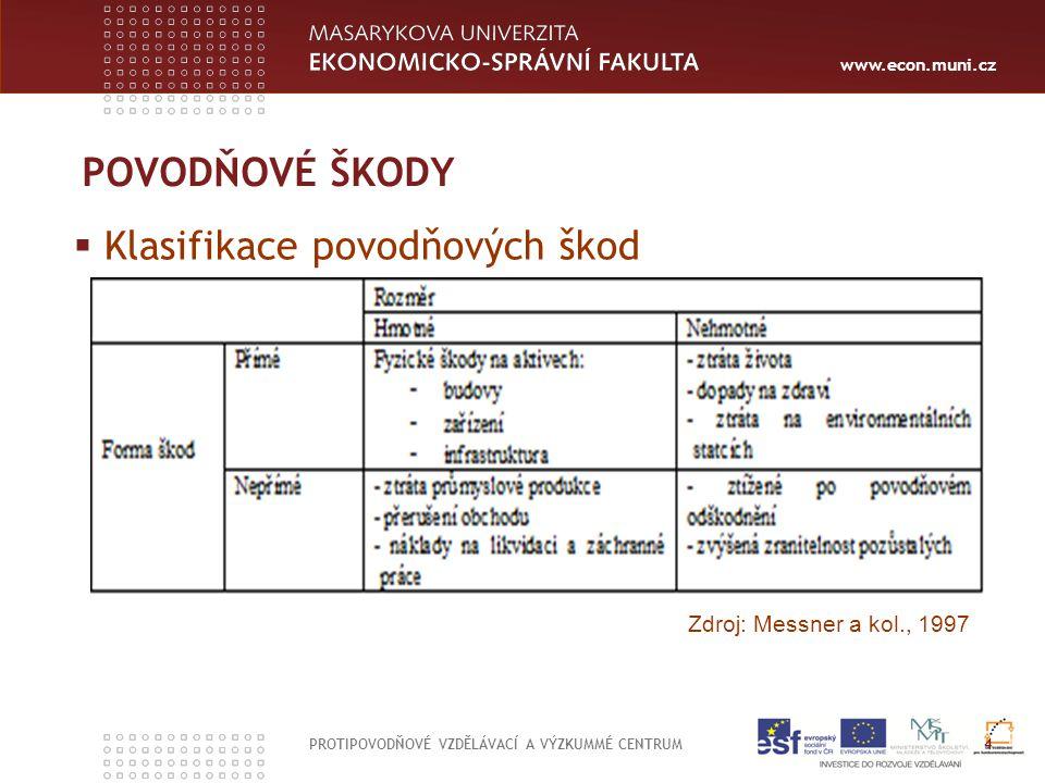 www.econ.muni.cz  Klasifikace povodňových škod PROTIPOVODŇOVÉ VZDĚLÁVACÍ A VÝZKUMMÉ CENTRUM 4 POVODŇOVÉ ŠKODY Zdroj: Messner a kol., 1997