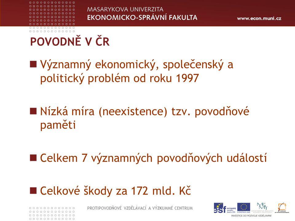 www.econ.muni.cz POVODNĚ V ČR PROTIPOVODŇOVÉ VZDĚLÁVACÍ A VÝZKUMMÉ CENTRUM 7 Významný ekonomický, společenský a politický problém od roku 1997 Nízká m