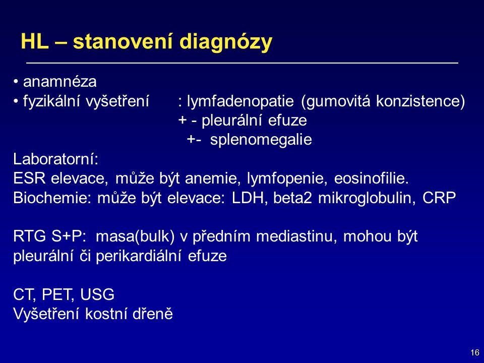 16 HL – stanovení diagnózy anamnéza fyzikální vyšetření : lymfadenopatie (gumovitá konzistence) + - pleurální efuze +- splenomegalie Laboratorní: ESR