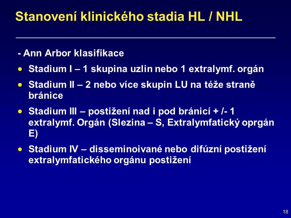 18 Stanovení klinického stadia HL / NHL - Ann Arbor klasifikace  Stadium I – 1 skupina uzlin nebo 1 extralymf. orgán  Stadium II – 2 nebo více skupi