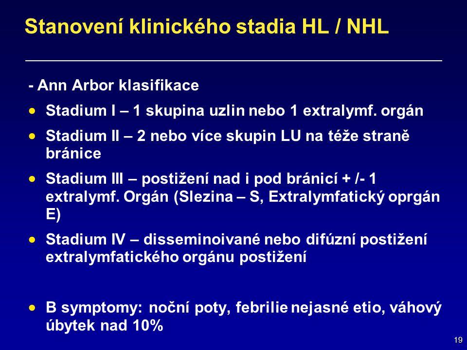 19 Stanovení klinického stadia HL / NHL - Ann Arbor klasifikace  Stadium I – 1 skupina uzlin nebo 1 extralymf. orgán  Stadium II – 2 nebo více skupi