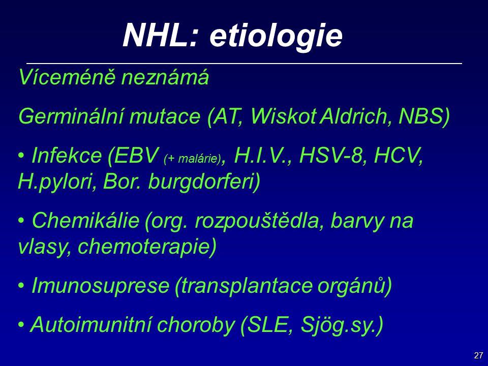 27 NHL: etiologie Víceméně neznámá Germinální mutace (AT, Wiskot Aldrich, NBS) Infekce (EBV (+ malárie), H.I.V., HSV-8, HCV, H.pylori, Bor. burgdorfer