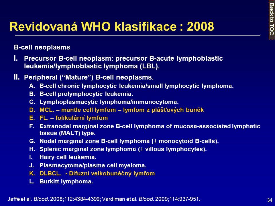 34 Revidovaná WHO klasifikace : 2008 B-cell neoplasms I. Precursor B-cell neoplasm: precursor B-acute lymphoblastic leukemia/lymphoblastic lymphoma (L