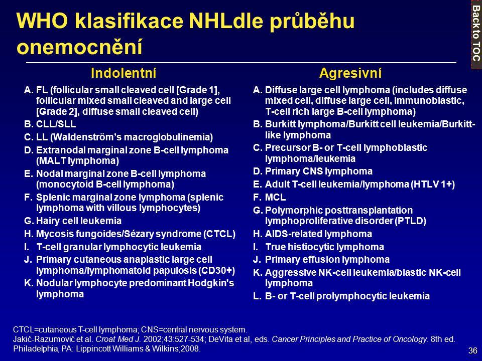 36 WHO klasifikace NHLdle průběhu onemocnění A.FL (follicular small cleaved cell [Grade 1], follicular mixed small cleaved and large cell [Grade 2], d