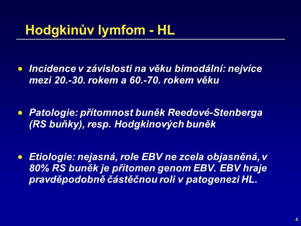 4 Hodgkinův lymfom - HL  Incidence v závislosti na věku bimodální: nejvíce mezi 20.-30. rokem a 60.-70. rokem věku  Patologie: přítomnost buněk Reed