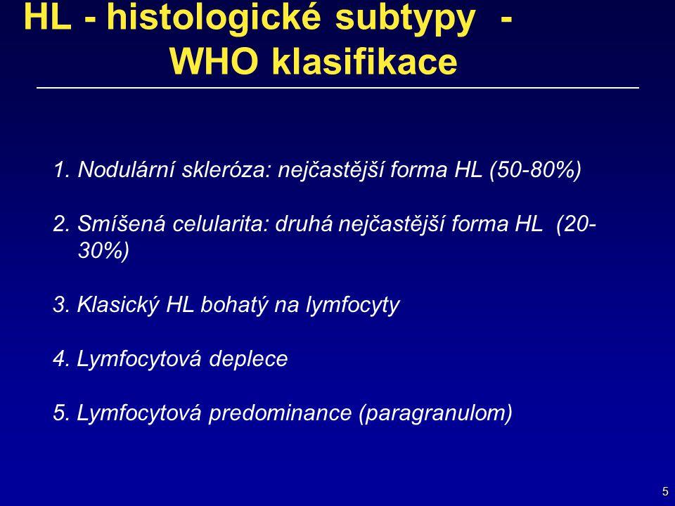 5 HL - histologické subtypy - WHO klasifikace 1.Nodulární skleróza: nejčastější forma HL (50-80%) 2. Smíšená celularita: druhá nejčastější forma HL (2