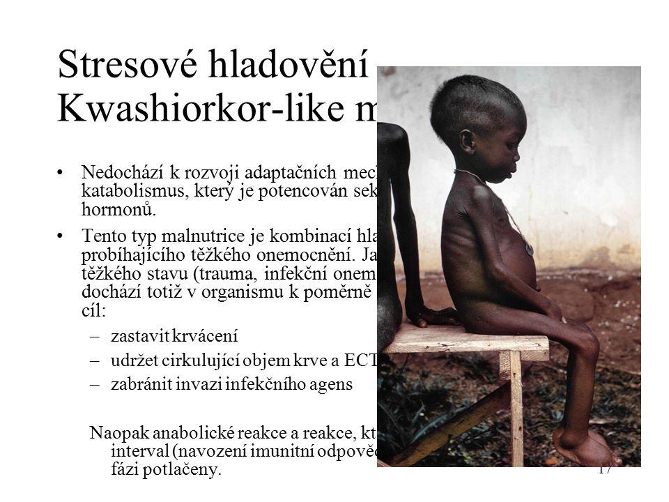 Stresové hladovění Kwashiorkor-like malnutrice Nedochází k rozvoji adaptačních mechanismů, ale prohlubuje se katabolismus, který je potencován sekrecí tzv.