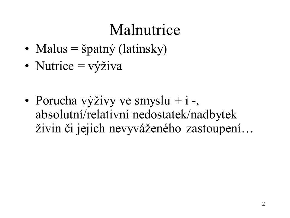 Malnutrice Malus = špatný (latinsky) Nutrice = výživa Porucha výživy ve smyslu + i -, absolutní/relativní nedostatek/nadbytek živin či jejich nevyváženého zastoupení… 2