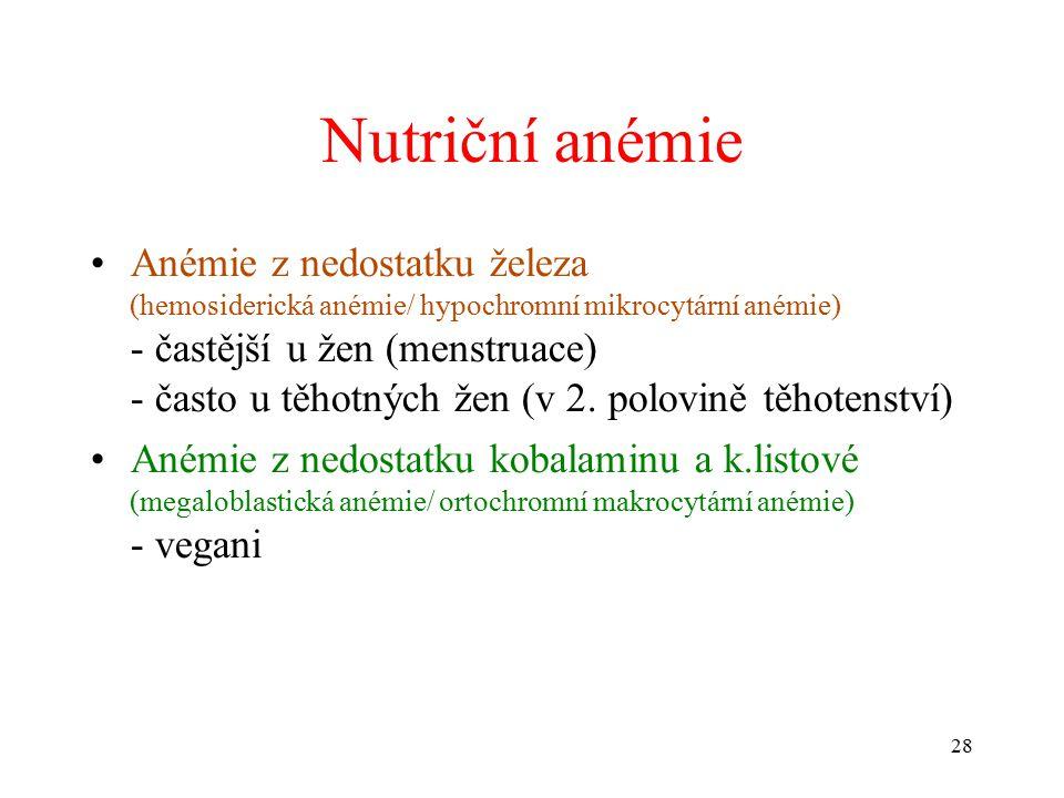 Nutriční anémie Anémie z nedostatku železa (hemosiderická anémie/ hypochromní mikrocytární anémie) - častější u žen (menstruace) - často u těhotných žen (v 2.