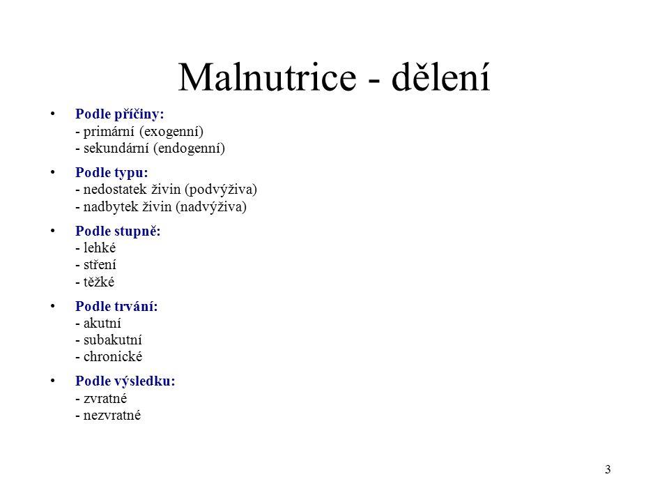 Malnutrice - dělení Podle příčiny: - primární (exogenní) - sekundární (endogenní) Podle typu: - nedostatek živin (podvýživa) - nadbytek živin (nadvýživa) Podle stupně: - lehké - stření - těžké Podle trvání: - akutní - subakutní - chronické Podle výsledku: - zvratné - nezvratné 3