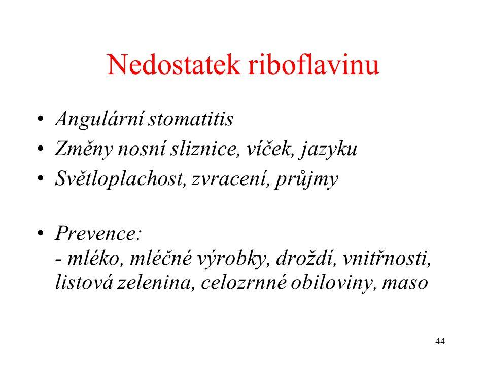 Nedostatek riboflavinu Angulární stomatitis Změny nosní sliznice, víček, jazyku Světloplachost, zvracení, průjmy Prevence: - mléko, mléčné výrobky, droždí, vnitřnosti, listová zelenina, celozrnné obiloviny, maso 44