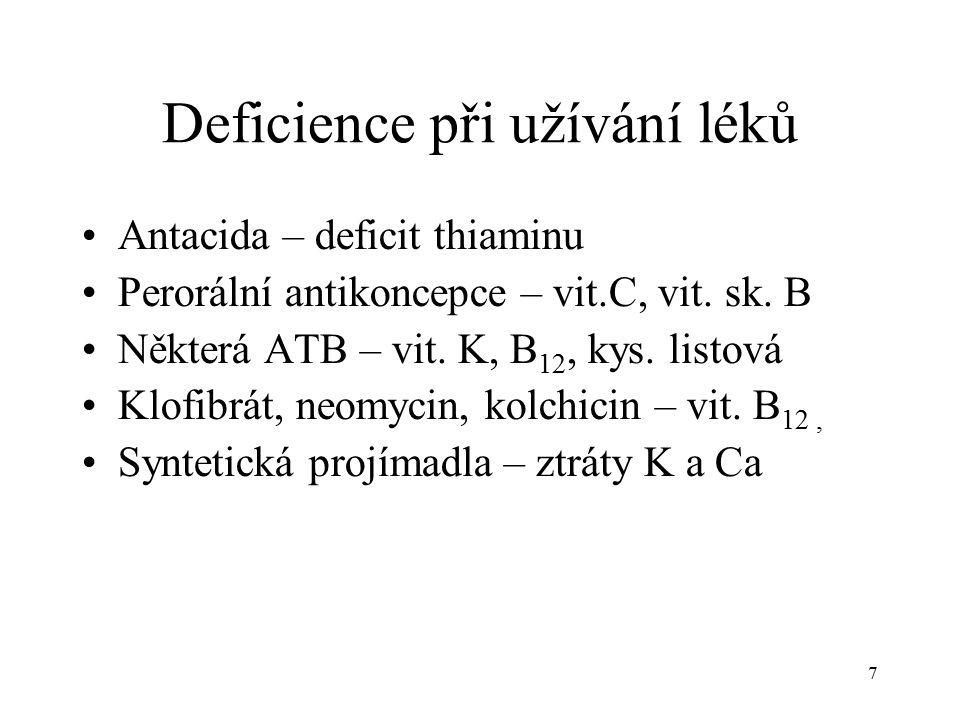Deficience při užívání léků Antacida – deficit thiaminu Perorální antikoncepce – vit.C, vit.