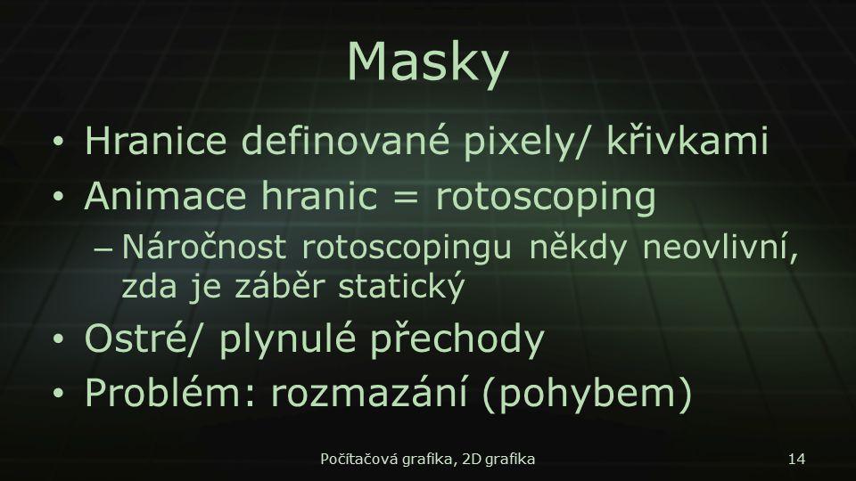 Masky Hranice definované pixely/ křivkami Animace hranic = rotoscoping – Náročnost rotoscopingu někdy neovlivní, zda je záběr statický Ostré/ plynulé