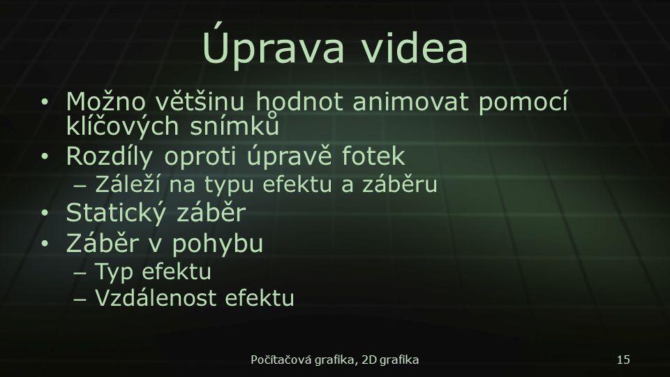 Úprava videa Možno většinu hodnot animovat pomocí klíčových snímků Rozdíly oproti úpravě fotek – Záleží na typu efektu a záběru Statický záběr Záběr v