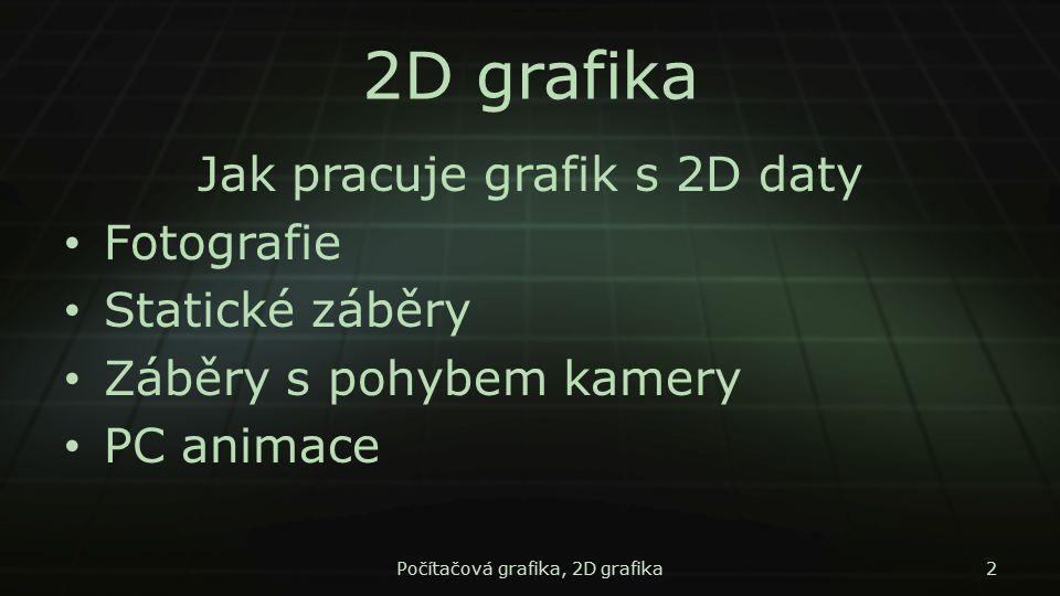 2D grafika Jak pracuje grafik s 2D daty Fotografie Statické záběry Záběry s pohybem kamery PC animace Počítačová grafika, 2D grafika2