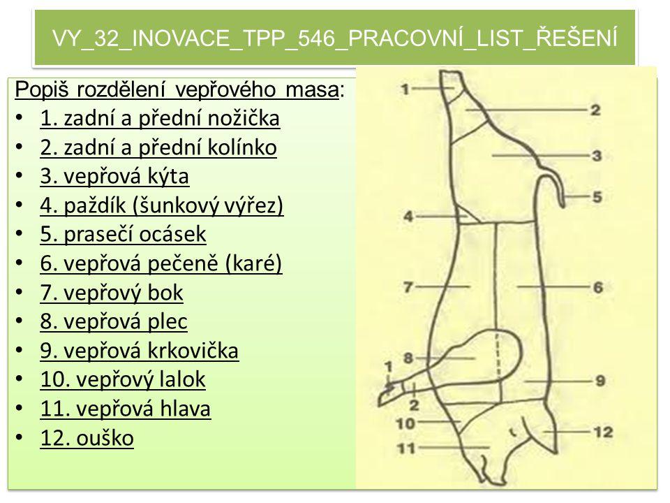 VY_32_INOVACE_TPP_546_PRACOVNÍ_LIST_ŘEŠENÍ Popiš rozdělení vepřového masa: 1.