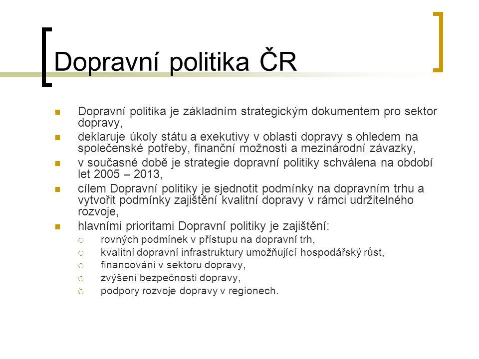 Dopravní politika ČR Dopravní politika je základním strategickým dokumentem pro sektor dopravy, deklaruje úkoly státu a exekutivy v oblasti dopravy s