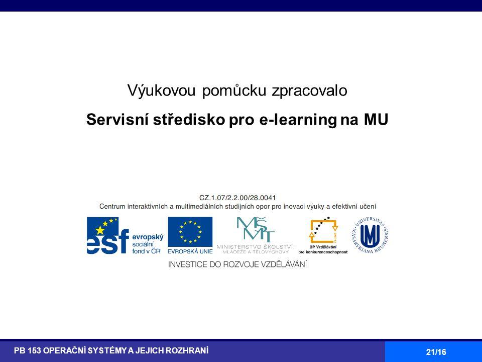 21/16 Výukovou pomůcku zpracovalo Servisní středisko pro e-learning na MU http://is.muni.cz/stech/ PB 153 OPERAČNÍ SYSTÉMY A JEJICH ROZHRANÍ