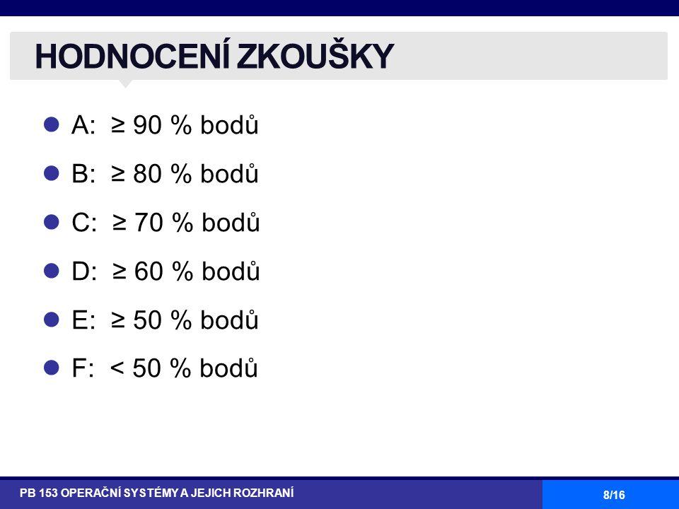 8/16 A: ≥ 90 % bodů B: ≥ 80 % bodů C: ≥ 70 % bodů D: ≥ 60 % bodů E: ≥ 50 % bodů F: < 50 % bodů HODNOCENÍ ZKOUŠKY PB 153 OPERAČNÍ SYSTÉMY A JEJICH ROZHRANÍ