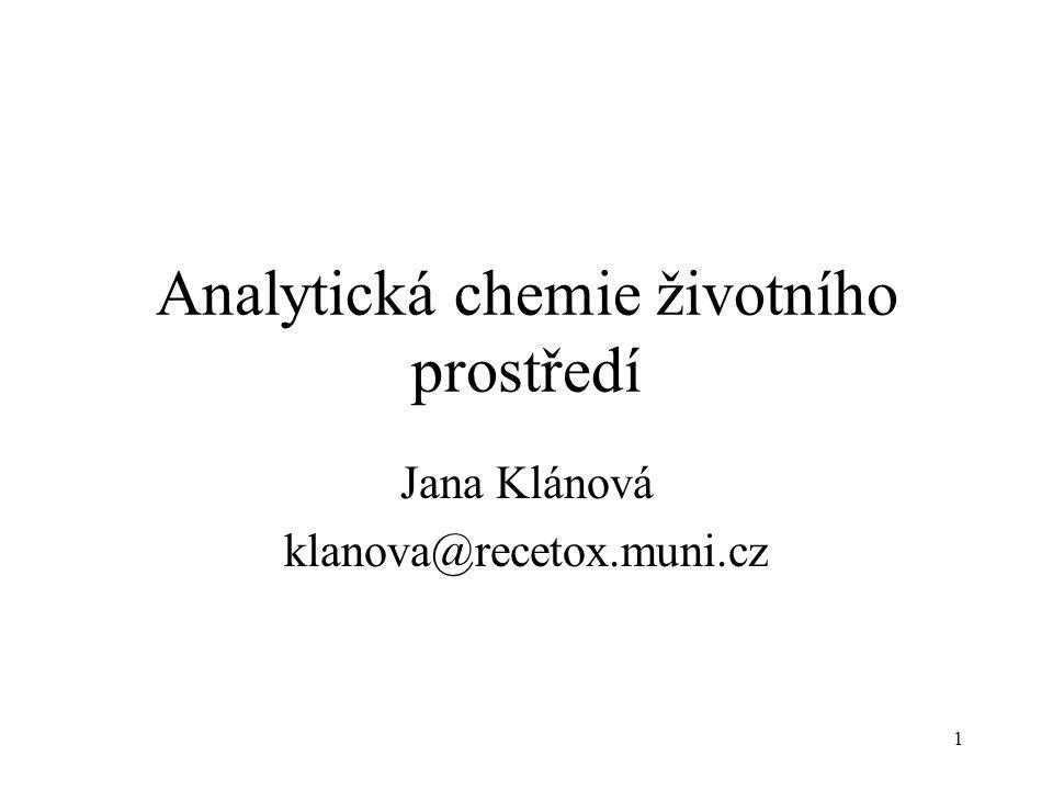 1 Analytická chemie životního prostředí Jana Klánová klanova@recetox.muni.cz