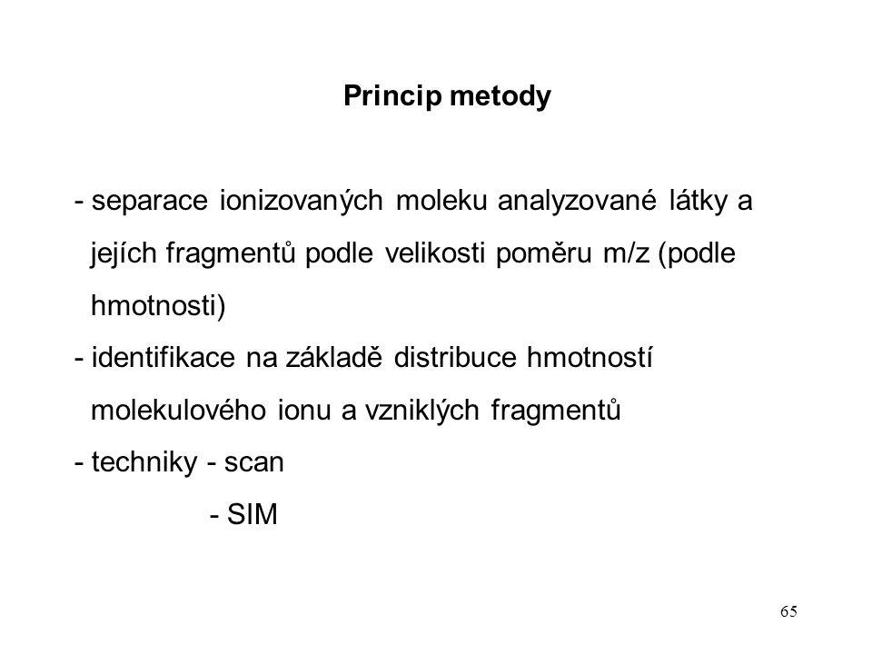 65 Princip metody - separace ionizovaných moleku analyzované látky a jejích fragmentů podle velikosti poměru m/z (podle hmotnosti) - identifikace na z