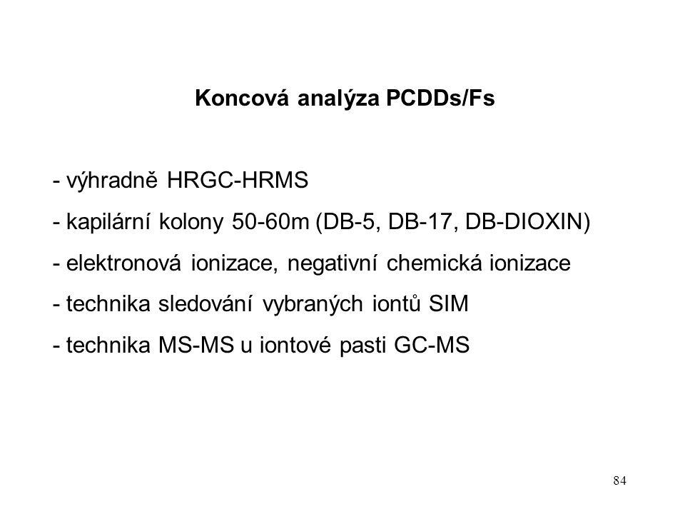 84 Koncová analýza PCDDs/Fs - výhradně HRGC-HRMS - kapilární kolony 50-60m (DB-5, DB-17, DB-DIOXIN) - elektronová ionizace, negativní chemická ionizac
