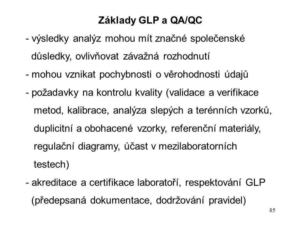 85 Základy GLP a QA/QC - výsledky analýz mohou mít značné společenské důsledky, ovlivňovat závažná rozhodnutí - mohou vznikat pochybnosti o věrohodnos