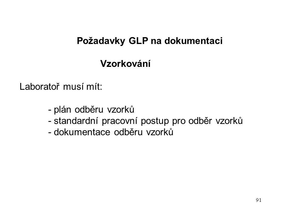 91 Požadavky GLP na dokumentaci Vzorkování Laboratoř musí mít: - plán odběru vzorků - standardní pracovní postup pro odběr vzorků - dokumentace odběru