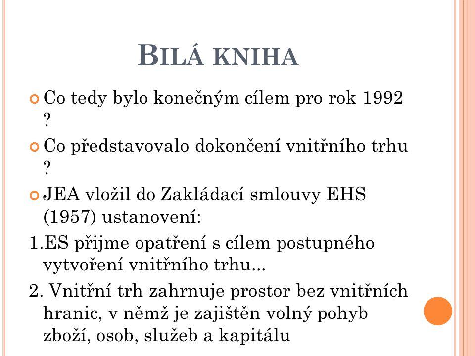 B ILÁ KNIHA Co tedy bylo konečným cílem pro rok 1992 ? Co představovalo dokončení vnitřního trhu ? JEA vložil do Zakládací smlouvy EHS (1957) ustanove