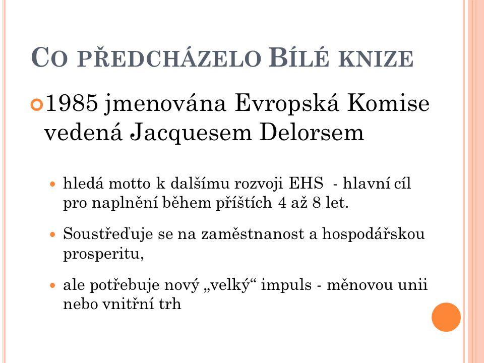 C O PŘEDCHÁZELO B ÍLÉ KNIZE 1985 jmenována Evropská Komise vedená Jacquesem Delorsem hledá motto k dalšímu rozvoji EHS - hlavní cíl pro naplnění během