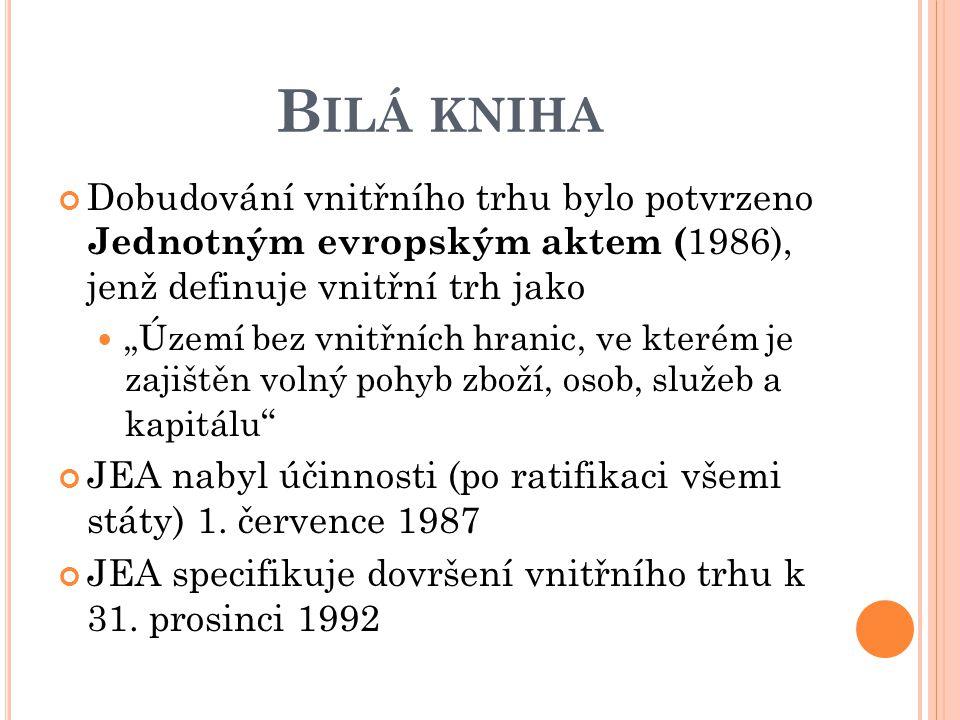 """B ILÁ KNIHA Dobudování vnitřního trhu bylo potvrzeno Jednotným evropským aktem ( 1986), jenž definuje vnitřní trh jako """"Území bez vnitřních hranic, ve"""