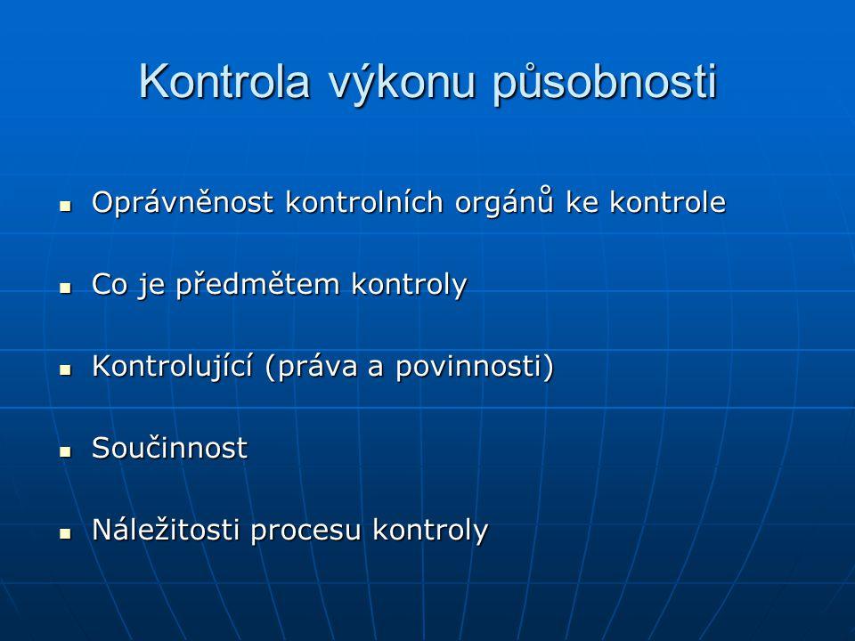 Kontrola výkonu působnosti Oprávněnost kontrolních orgánů ke kontrole Oprávněnost kontrolních orgánů ke kontrole Co je předmětem kontroly Co je předmě