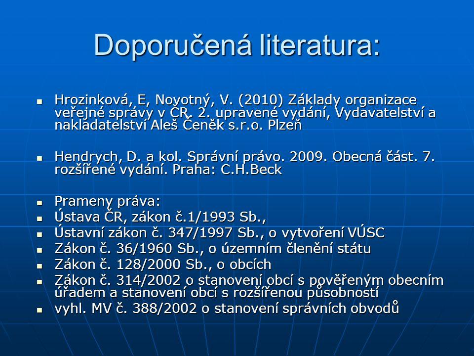 Doporučená literatura: Hrozinková, E, Novotný, V. (2010) Základy organizace veřejné správy v ČR. 2. upravené vydání, Vydavatelství a nakladatelství Al