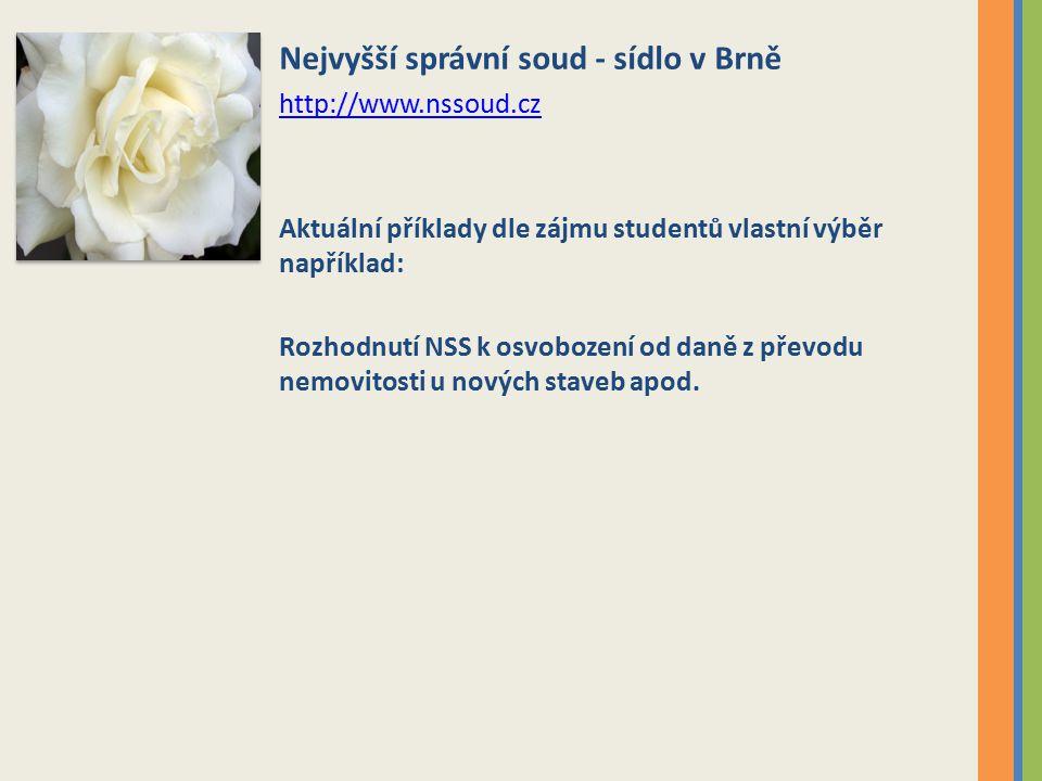 Nejvyšší správní soud - sídlo v Brně http://www.nssoud.cz Aktuální příklady dle zájmu studentů vlastní výběr například: Rozhodnutí NSS k osvobození od