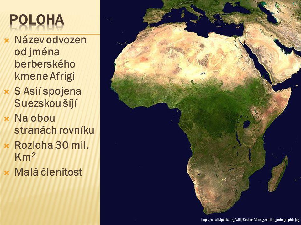  Název odvozen od jména berberského kmene Afrigi  S Asií spojena Suezskou šíjí  Na obou stranách rovníku  Rozloha 30 mil. Km 2  Malá členitost ht